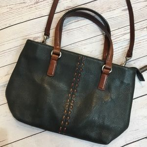 FOSSIL Black Leather Convertible Crossbody Bag
